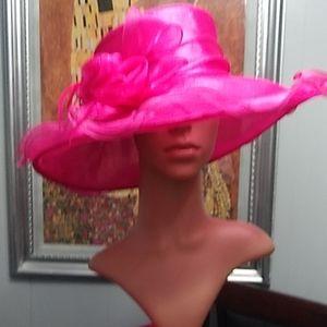 Pink Polyester Fancy Derby Hat